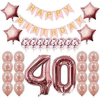 Rose Gold 40th Birthday Decorations Party Supplies Gifts For Women