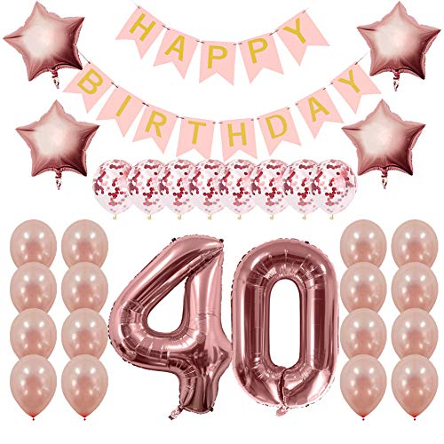(Rose Gold 40th Birthday Decorations Party Supplies Gifts for Women - Create Unique Events with Happy Birthday Banner, 40 Number and Confetti)