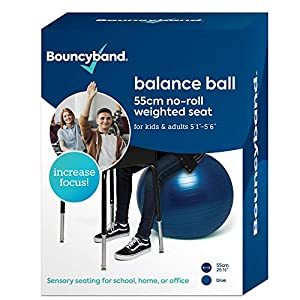 Well-Being-Matters 517tAXRERhL._SS300_ Balance Ball - No-Roll Weighted Seat is a Flexible Chair for School, Office or Home (Medium, Dark Blue)