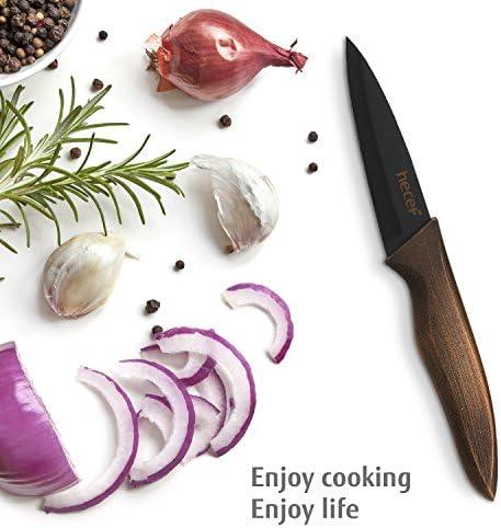 hecef Ensemble de Couteaux de Cuisine, Y Compris Couteau de Cuisine de 8 Pouces, Couteau à Pain de 8 Pouces, Couteau Santoku de 7 Pouces, Couteau Universel de 5 Pouces, Couteau de Fruit de 3.5 Pouces