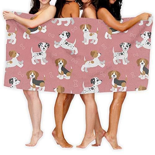 (Bethwerdr Cartoon Dog Puppy Bone Printed Bath Towel Shower Wrap Beach Bathroom Body Towels Waffle Body Wrap Spa Home Travel Hotel Use)