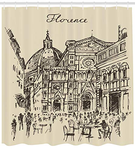 Lunarable Florence Shower Curtain, Sketch Drawn Urban Scene in Italian City with Patio and Historic Buildings, Cloth Fabric Bathroom Decor Set with Hooks, 75