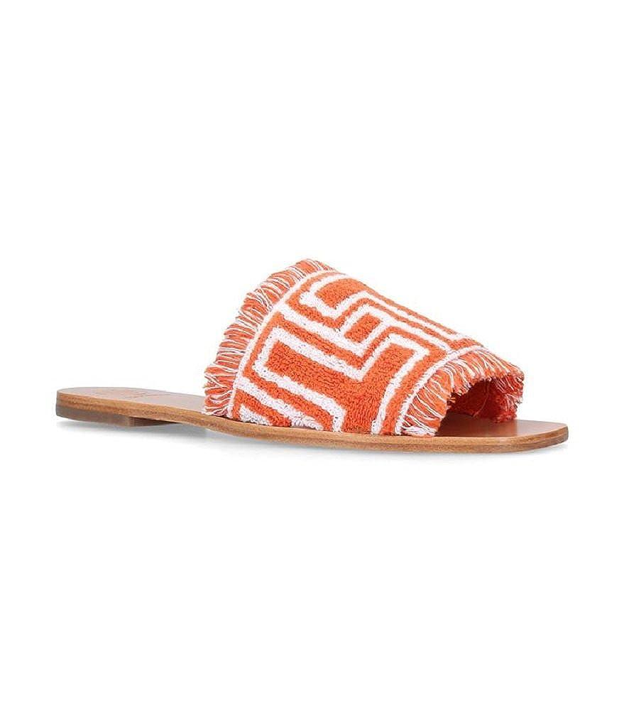 51d1b06eebee4 Amazon.com | Tory Burch Terry Cloth T-Tile Flat Slides, Orange/Ivory ...