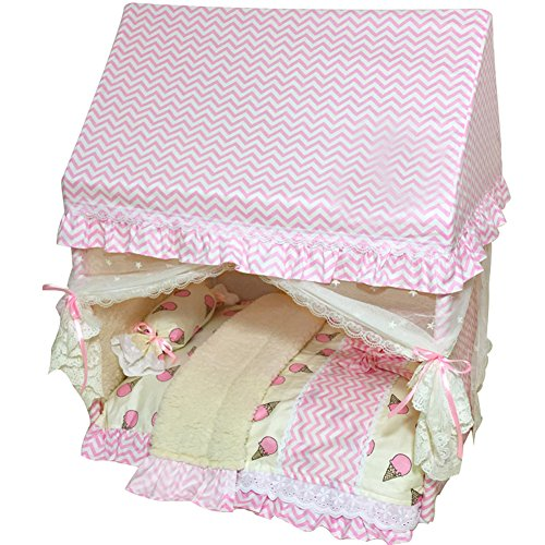 Creation Core Romantic Pet Puppy Cat Bed House with Canopy Mosquito Net Pillow Quilt(Pink,M)