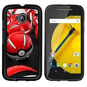 TECHCASE---Cubierta de la caja de protección para la piel dura ** Motorola Moto E ( 2nd Generation ) ** --Red Poké Balls