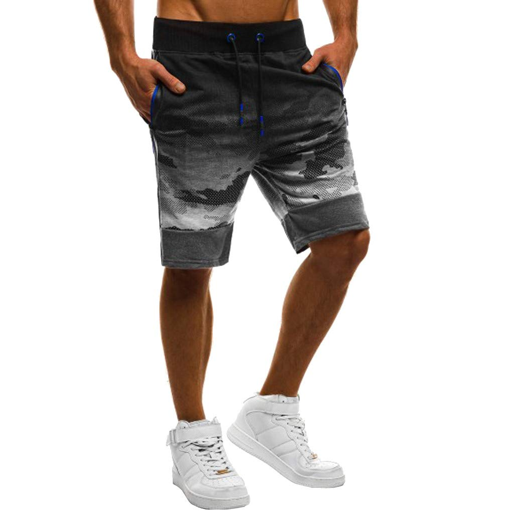 MNRIUOCII Herren Casual Shorts Camouflage NäHte Farbe Kurze Hosen Verstellbarem Tunnelzug Sweatshorts Stretch Kurzhose Slim-Fit Freizeithosen Strand Surf Board Shorts