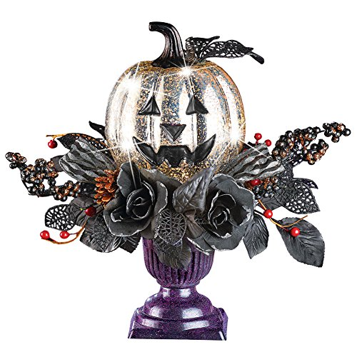 - Collections Etc Lighted Spooky Silver Pumpkin and Black Foliage Centerpiece in Purple Pot Tabletop Halloween Decoration