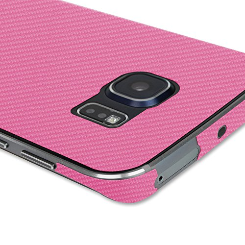 Skinomi Pink Carbon Fiber Full Body Skin Compatible with Samsung Galaxy S6 Edge (Full Coverage) TechSkin with Anti-Bubble Clear Film Screen Protector