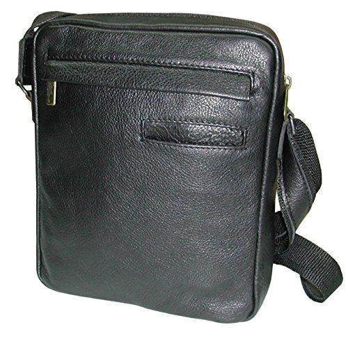 Pequeño bolso bandolera de hombre en piel vacuno de alta calidad, textura fina y suave.