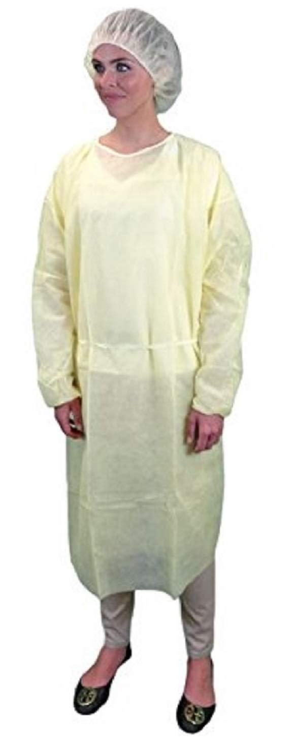 Yellow Isolation Gown - Polypropylene - Rear Entry With Extra Long Ties - One Size Fits All, CS50