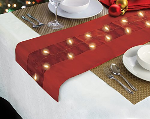 7 FT. HOLIDAY RED SPARKLING TABLE RUNNER WITH 20 LED LIGHTS