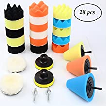 EIGIIS 28 PCS 3 inch Buffing Pads Car Polishing Buffer Wool Waxing Polishing Foam Pad Waffle Polisher Drill Adapter Polishing Ball Kit Car Wheel Rim Metal Floor Furniture