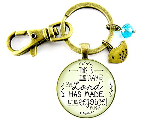 Christian Keychain This is the Day that the Lord Has Made Bronze Key Chain Bird Charm