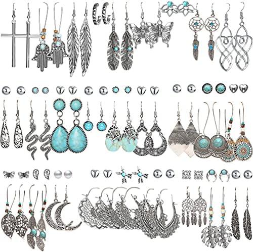 45 Pairs Bohemian Silver Drop Dangle Earrings...