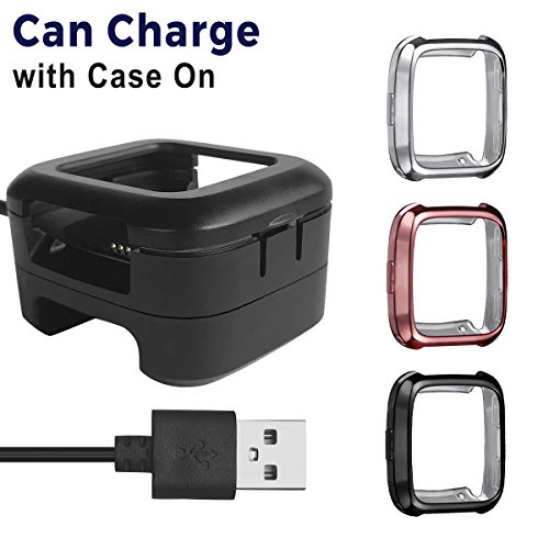 Kartice Compatible Fitbit Versa Charger with case[1+3 Pack],Charger Docking Station and Fitbit Versa Protective Case Bumper Protector kit for Fitbit Versa Smart Fitness Watch.
