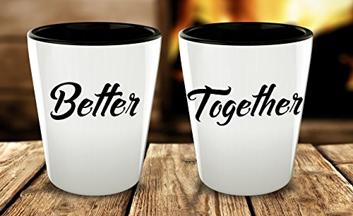Shot Glass Gift Set of 2, Couples Shots Glasses, Mr And Mrs.-Boyfriend Girlfriend-His And Hers Gifts, Best Matching Couple Stuff With Funny Quote Favor