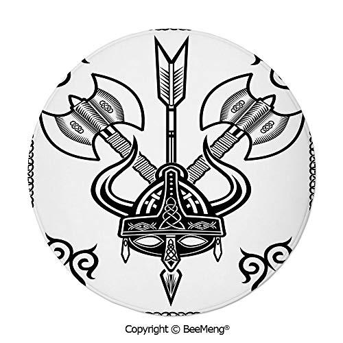 (Diameter31 inch,Printing Round Rug,Dragonfly,Mat Non-Slip Soft Entrance Mat Door Floor Rug Area Rug for Chair Living Room,,Viking,Helmet with Horn Arrow Axe Antique War Celtic Style Medieval Battle Ar)