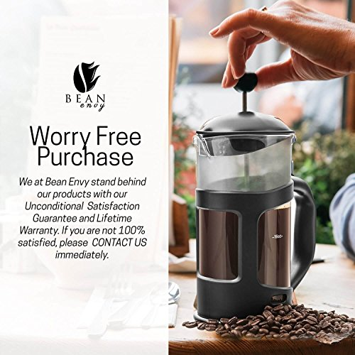 Professional Grade 34 oz French Press Coffee Maker & Premium Milk Frother With Stainless Steel Stand - Save Time & Money With Homemade Lattes! Spice Up Your Countertop & Taste Buds Every Morning! by Bean Envy (Image #5)