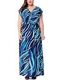 Bewish Womens Summer Ocean Casual Short Sleeve V-Neck Maxi Long Dress Boho Dress