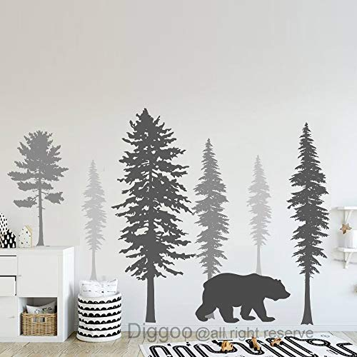 Woodland Wall Decal Bear and Pine Tree Forest Wall Decals Kids Room Wall Art Woodland Nursery Decor (Dark Gray+Gray+Slate Gray,50