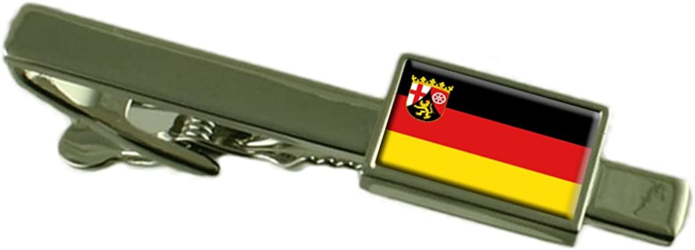 Keepsake Engraved Personalized Case Rhineland-Palatinate State and Civil Flag Tie Clip Bar 55mm