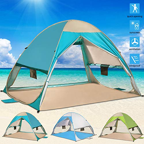 (G4Free Large Beach Tent Portable Sun Shelter UV Protection Canopy Pop Up Shade Instant Outdoor Cabana, Fit 3 Persons for Baby Family, 2-Way Privacy Changing Room(Blue))