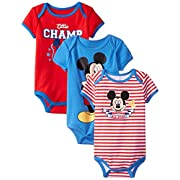Disney Baby-Boys Mickey Mouse Bodysuits (Pack of 3),Red,3-6 Months