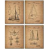 Sailing Patent Prints - Set of Four Vintage Sailboat Wall Art Decor Photos