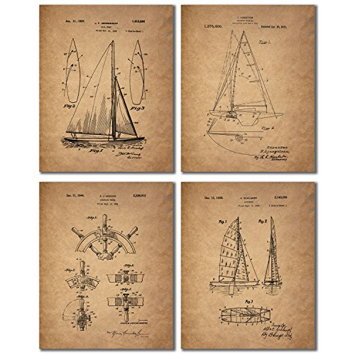 (Sailing Patent Prints - Set of 4 Vintage Sailboat Wall Art Decor Photos)