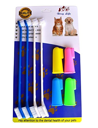 t Toothbrush Food grade material pet toothbrush Dental Hygiene Brushes for Small to Large Dogs (4 Neutral Size + 4 Head Toothbrush) ()