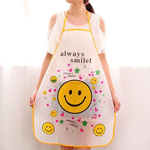 Yiwa Cute Cartoon Waterproof Half Apron Kitchen Restaurant Cooking Bib smiley - Aprons Face Smiley