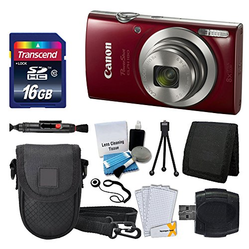 Canon PowerShot ELPH 180 Digital Camera (Red) + Transcend 16GB Memory Card + Camera Case + USB Card Reader + LCD Screen Protectors + Memory Card Wallet + Cleaning Pen + Ultimate Value Camera Bundle (Best Rated Canon Camera)