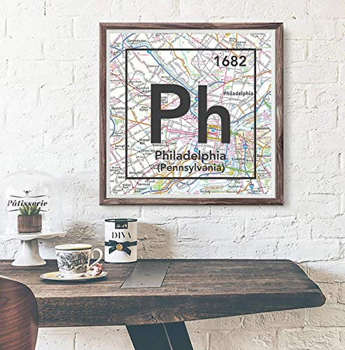 (Philadelphia Pennsylvania Vintage Periodic Map Art Print, UNFRAMED, gift for her or him, Atlas Road Map Home & Wall Decor, Wedding -Housewarming - Birthday Gift, ALL SIZES)