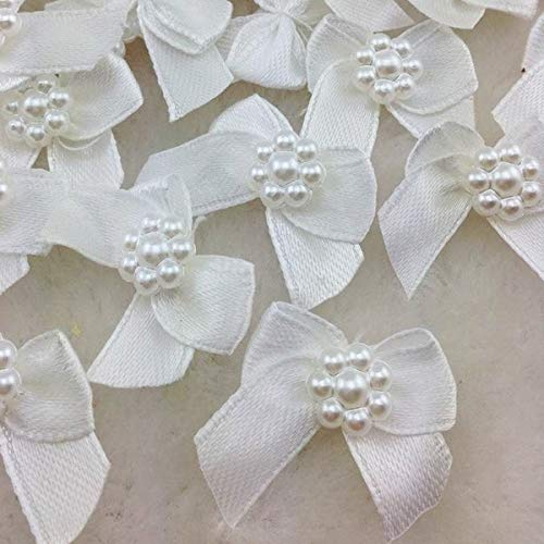FairOnly 50pcs Mini Satin Ribbon Flowers Bows Gift Craft Wedding Decoration A262 White ()