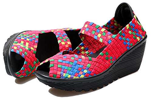 Walking On Wedge Mary Slip Shoes Red 8 GFONE Fitness Women's Peep 5 Casual Toe Shoes Platform Sneaker Color Jane 2 Size Working Woven Sandal WZx4ZX8qwY