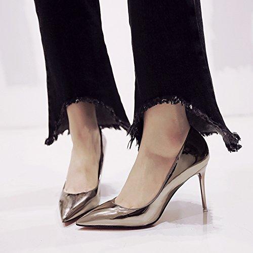 gun 34 chica profesional versátil y verano colour tacón Negra fino alto Punta de primavera En de los único zapatos zapato U14qwqF