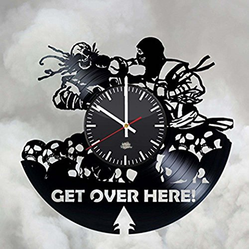 Scorpion Get Over Here Design Vinyl Record Wall Clock - Wonderful rest room and kitchen wall art decoration - Fancy gift idea for men or women