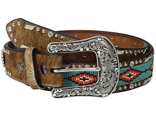 Ariat Accessories Women's Beaded Ribbon Belt M, Brown