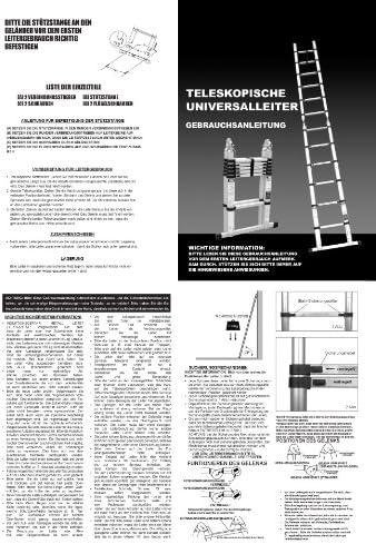 WORHAN/® 5m TELESKOPLEITER 2 in 1 ANLEGELEITER KLAPPLEITER ALU TELESKOP LEITER MULTIFUNKTTIONS 500cm K5C