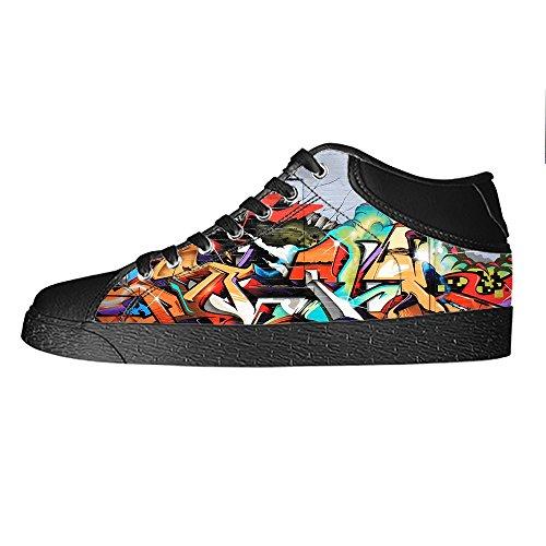 Delle Lacci Scarpe Canvas Custom Women's I Ginnastica Alto Da Graffiti Tetto Shoes YqXwCT