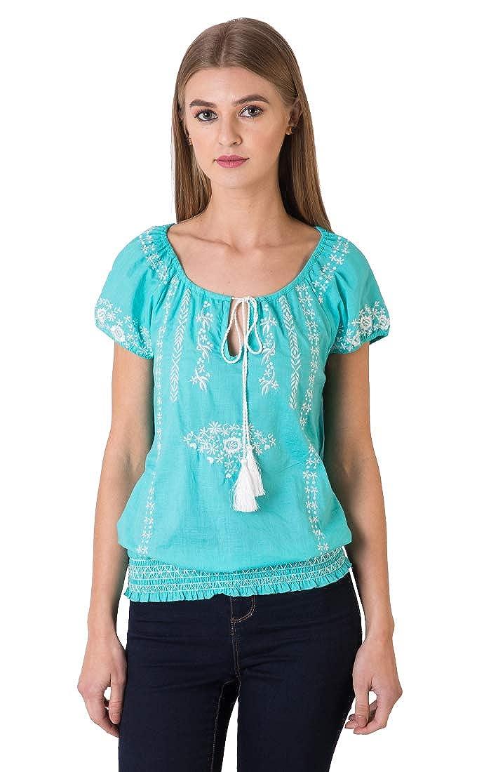 Indigo Paisley Blusa de algodón flor con bordado adornado ...
