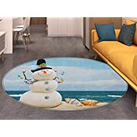 Snowman Round Area Rug Winter Vacation Holiday Theme Snowman with Seashells Sitting on Sandy Beach Coastal Indoor/Outdoor Round Area Rug Multicolor