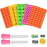Baker Boutique Silicone Chocolate Molds Gummy Molds - Candy Mold and Silicone Ice Cube Tray, Gelatin Molds Set of 5 Including Heart, Star, Shell & Bears with 2 Bonus Droppers