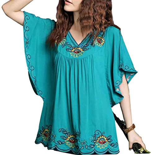 Kafeimali Women's Casual Embroidery Butterfly Sleeve Tops Shirt Tunic Blouse (Blue), One size fits to M.