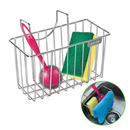 Kitchen Sponge Holder (Kitchen Sponge Holder, HBlife Stainless Steel Sink Caddy Organizer Soap Dishwashing Liquid Drainer Brush Rack Holder)