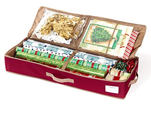 CoverMates – Premium Gift Wrap Organizer – Holds up to 15 Rolls + Accessories – 3 Year Warranty- Red by CoverMates