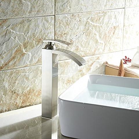 LightInTheBox Tall Waterfall Spout Single Handle Bathroom Vessel Faucet Sink Mixer Tap Nickel Brushed