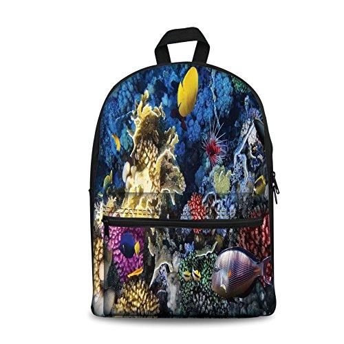 Mochila de lona con diseño de la moda de los niños de vuelta a la escuela, para libros, océanos, coloridos arrecifes de...