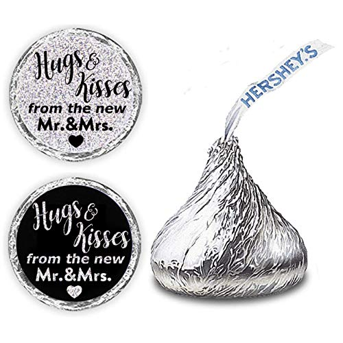 "270 PCS""Hugs and Kisses from The New Mr and Mrs"" Stickers – 0.75 Inch Round Silvery Black White Laser Design – Hershey's Kisses Favor Labels Stickers – Perfect for Wedding and Bridal Showers Supplie"