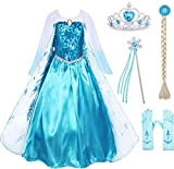 HenzWorld Elsa Dress Girls Princess Costume Long Sleeve Birthday Party Cosplay Fancy Outfit